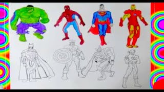 ALL SUPERHEROES  Coloring PAGES 2  Superman, Hulk, Captain America, Thor, Flash, batman, spiderman