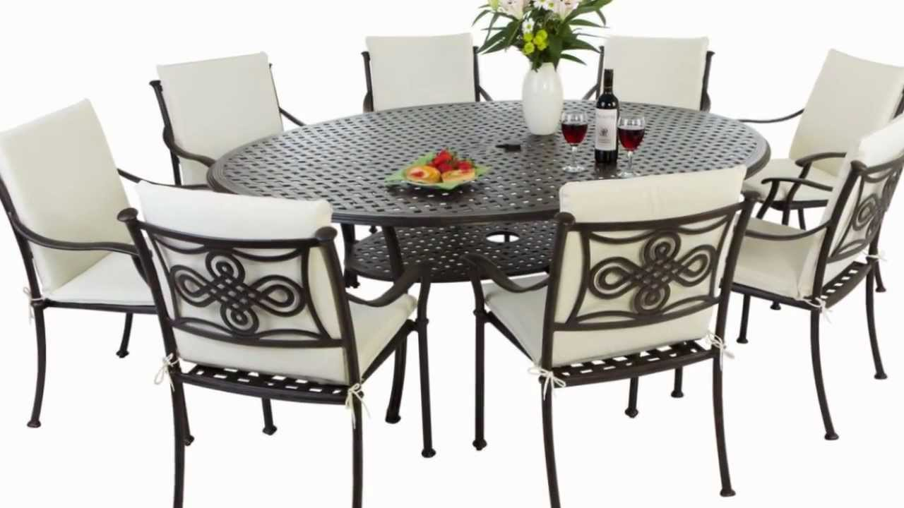 oval 8 seater cast aluminium garden furniture set with full lengh cushions durban set youtube - Garden Furniture 8 Seater