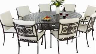 Oval 8 Seater Cast Aluminium Garden Furniture Set With Full Lengh Cushions - Durban Set