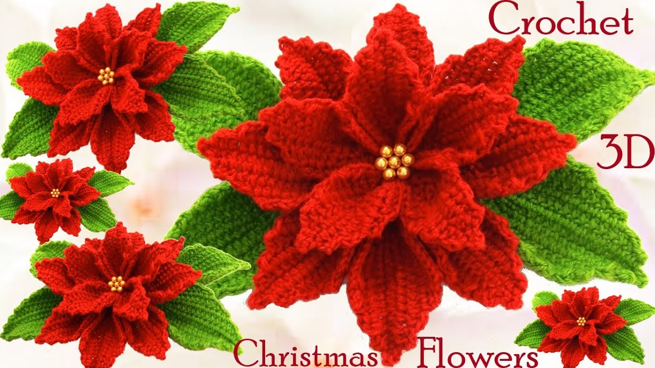 Como hacer flores nochebuena a crochet en punto 3d tejido - Como hacer cosas de navidad ...