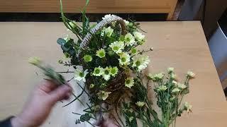 국화 꽃바구니. 미니 …