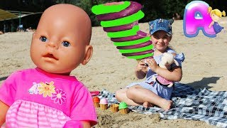 Anna play with Baby Doll and dog