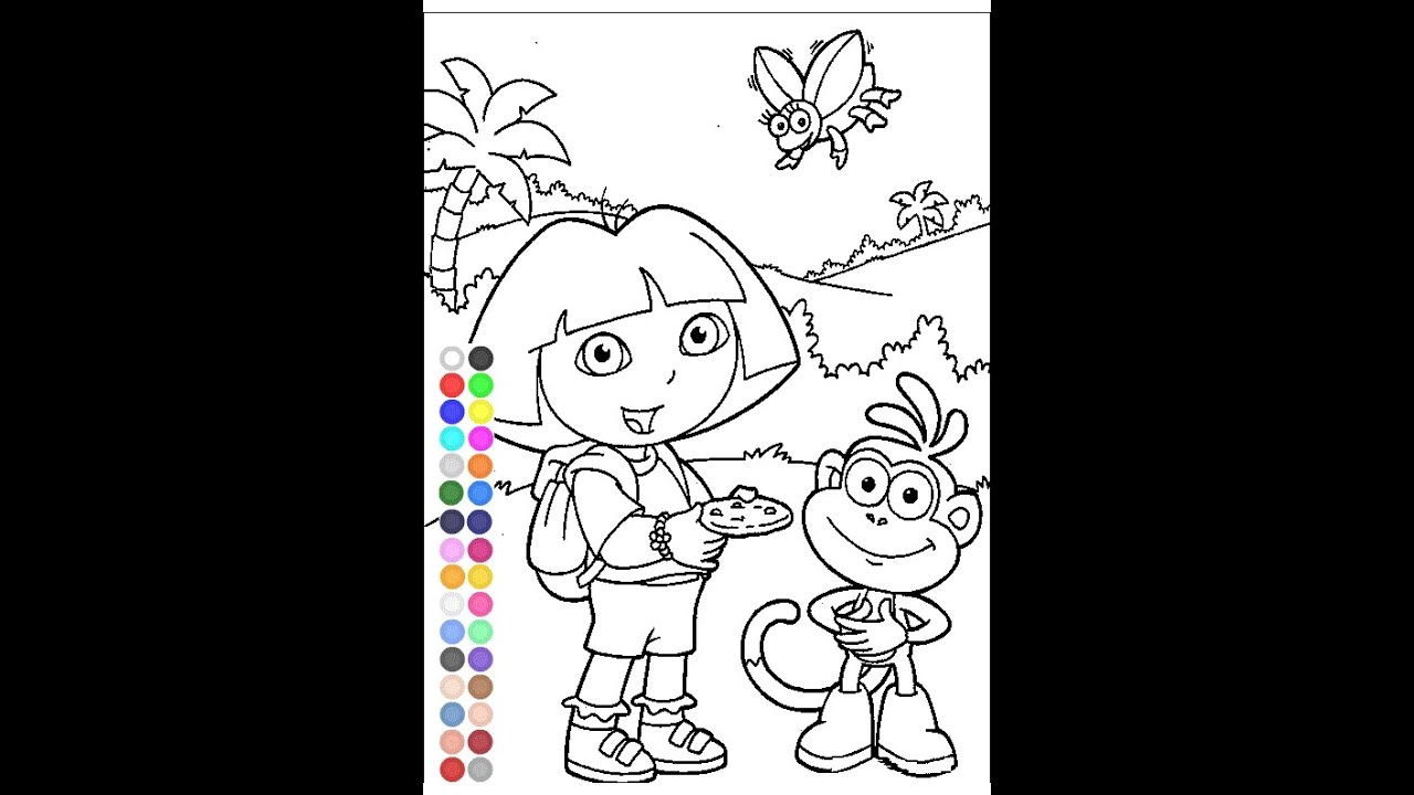 Dora the explorer coloring games free kids coloring for Dora the explorer coloring pages online free