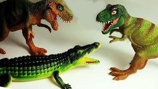 Динозавр Тираннозавр Рекс против Крокодилов. Динозаврики мультфильм на русском для детей Игрушки ТВ