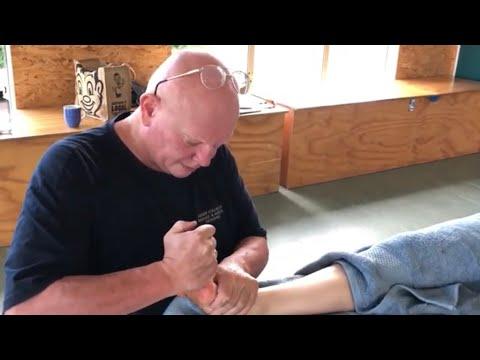 Raynor foot reflexology. Deep foot massage with massage tools. Brandon massaging Teresa part 4