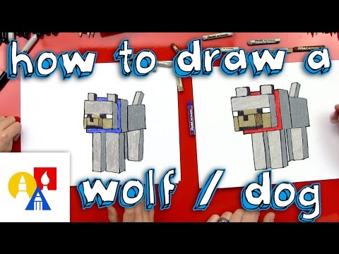 How To Draw Minecraft Wolf Dog