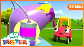 Coloring With the Paint Cannon - Learn Colors | Cozy Coupe | Go Buster | Baby Cartoons | Kids Videos