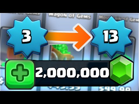 2 MILLION GEM CHEST OPENING! HE GEMMED FROM LEVEL 3 TO LEVEL 13! Richest Clash Royale Player!?