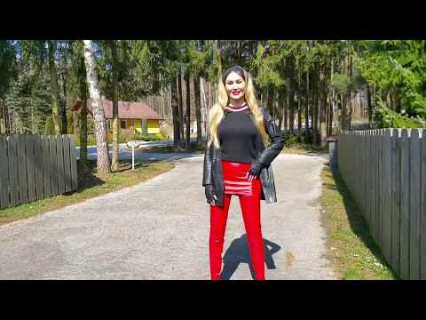 Granate Styling, Walking Outdoor, Red Crotch High Boots, High Heels, Leather Miniskirt