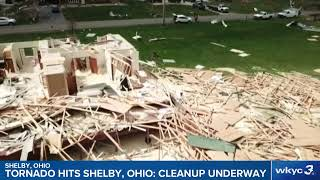 Scoping out storm damage after tornado tears through Shelby