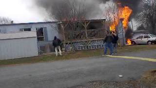 Mobile Home/Trailer Fire in Winston Salem NC 12/12/12 Two People Die