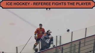 Ice Hockey - Referee fights player (HD)
