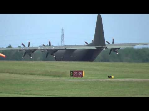 RAF Military C130 Hercules skids & blows tyres 17 June 2014 Cambridge UK 158pm
