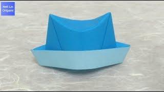 簡單的帽子摺紙教學 - 如何用一張紙就可以折出可愛又立體的帽子 手工折紙DIY
