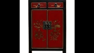 Chinese Red Color Vases & Flowers Graphic Night Stand / End Table
