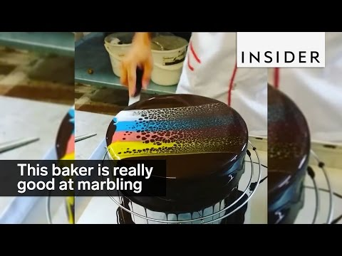 This baker is unbelievably good at cake marbling