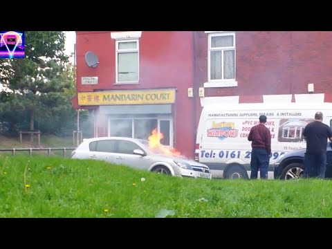 Car catching fire in Manchester Openshaw#subscribe