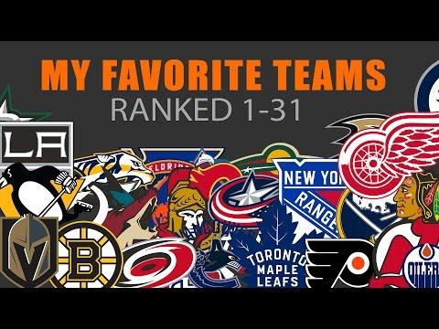 My Favorite NHL Teams Ranked 1 To 31