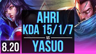 AHRI vs YASUO (MID) | KDA 15/1/7, Legendary | JP Challenger | v8.20