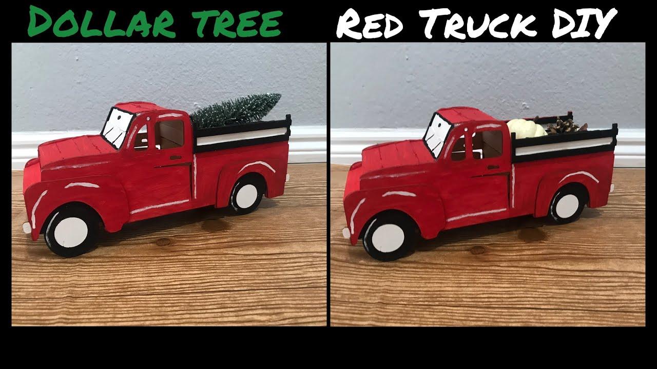 Red Truck Diy Dollar Tree Wooden Truck Ideas Fall Autumn Christmas Decor Farmhouse Modern Youtube