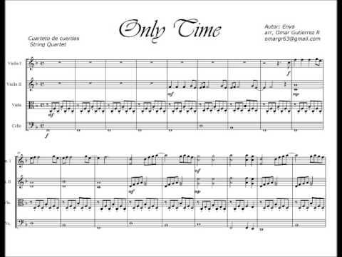 Partitura Only Time Cuarteto De Cuerdas