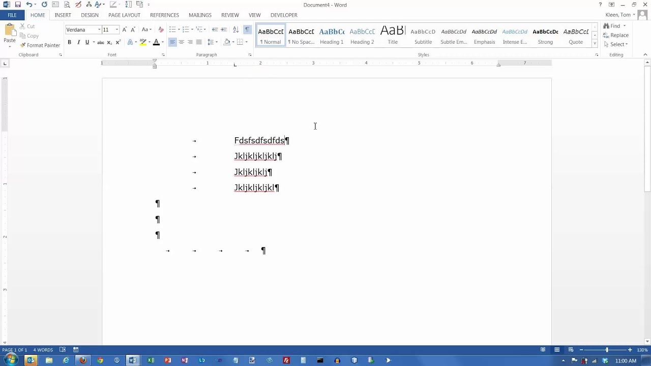 how to set a right aligned tab in word 2013