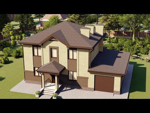 Проект двухэтажного дома с гаражом из газобетона