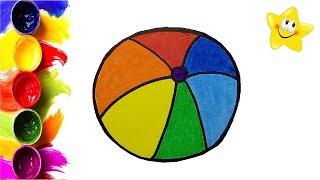Рисунок, раскраска для детей ЦВЕТНОЙ МЯЧ. Мультик - Раскраска. Учим цвета. Стихи для детей.