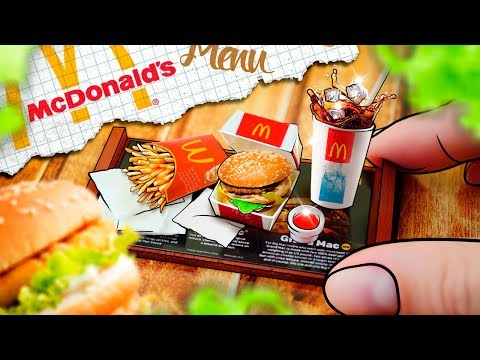 DIY - Miniature McDonalds menu: French fries, Coca-cola, BigMac - No Clay! | Easy DIY Miniature