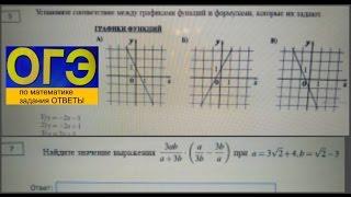 оГЭ 9 класс по математике Установите соответствие между графиками, найдите значение выражения