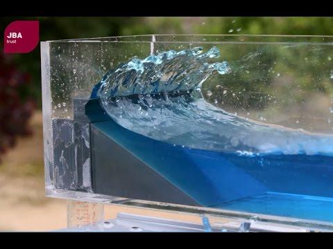 Wave tank demonstration showing the impact of coastal defences on flood risk