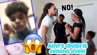 AHVI'S CRUSH IS COMING OVER FOR A PLAY DATE!! PRANK ON DAD