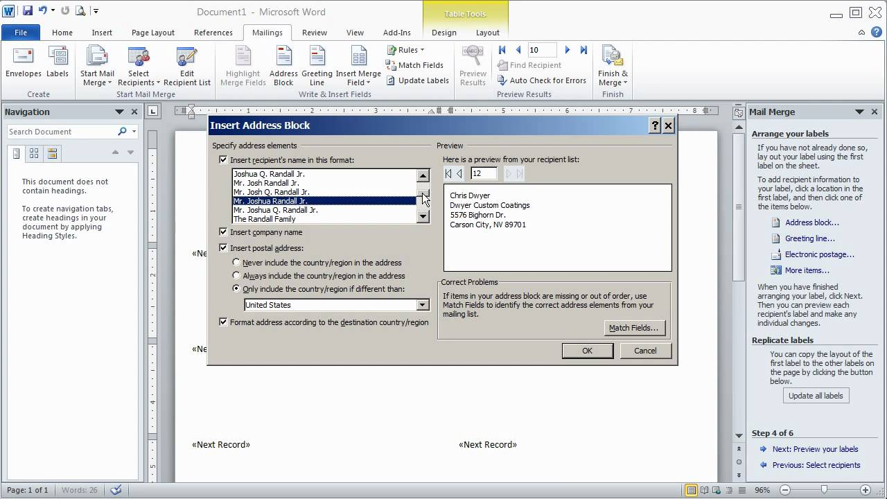 How to use Word 2007/2010 Mail Merge Wizard to print Avery Mailing ...