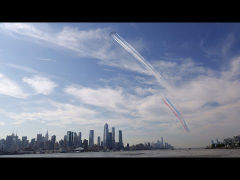 Blue Angels and Thunderbirds fly over New York City to honor frontline workers