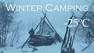 2 Nights Winter Camṗing In A Snowstorm in A Homemade Hot Tent