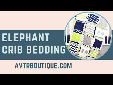 Elephant Baby Crib Bedding, Navy, Grey, and Green by A Vision to Remember