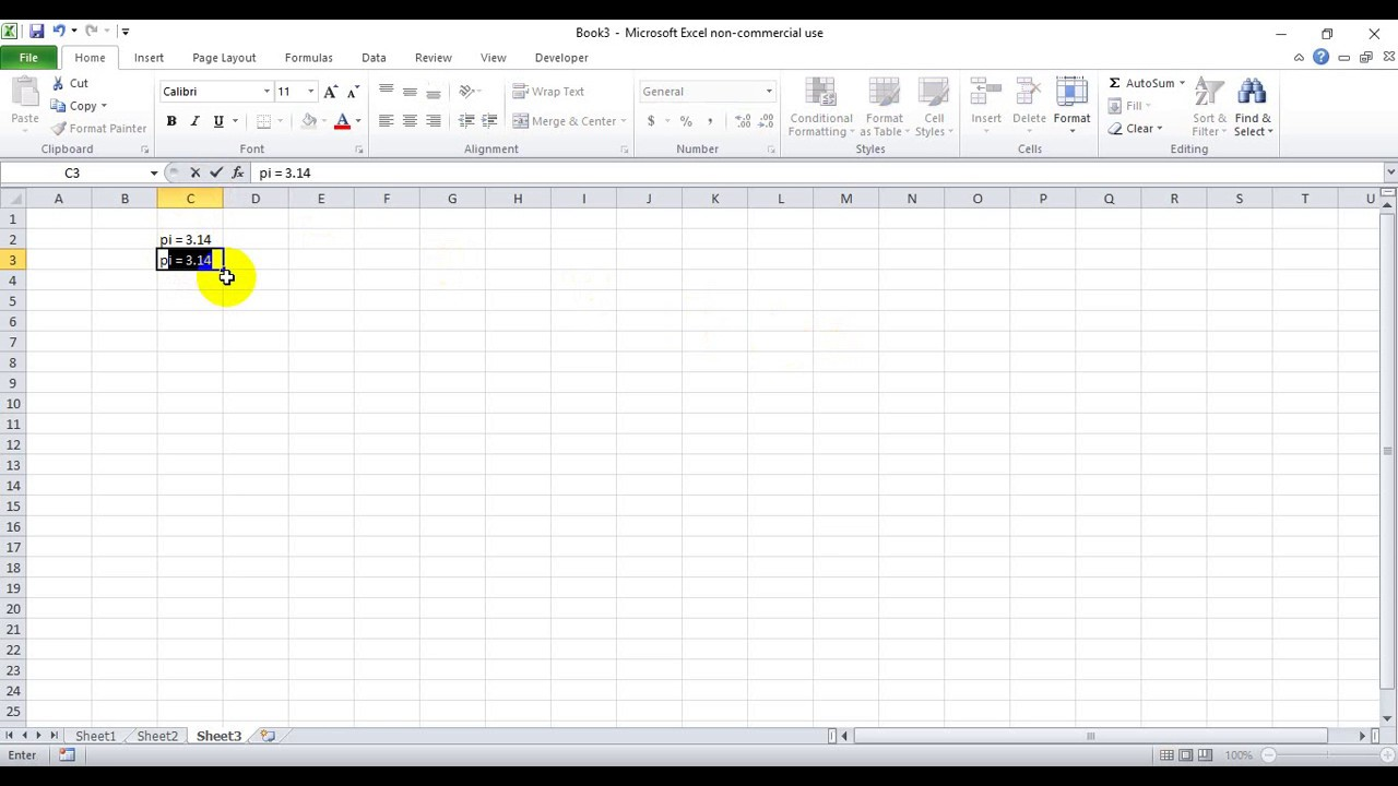 How To Write Pi Symbol In Excel Youtube