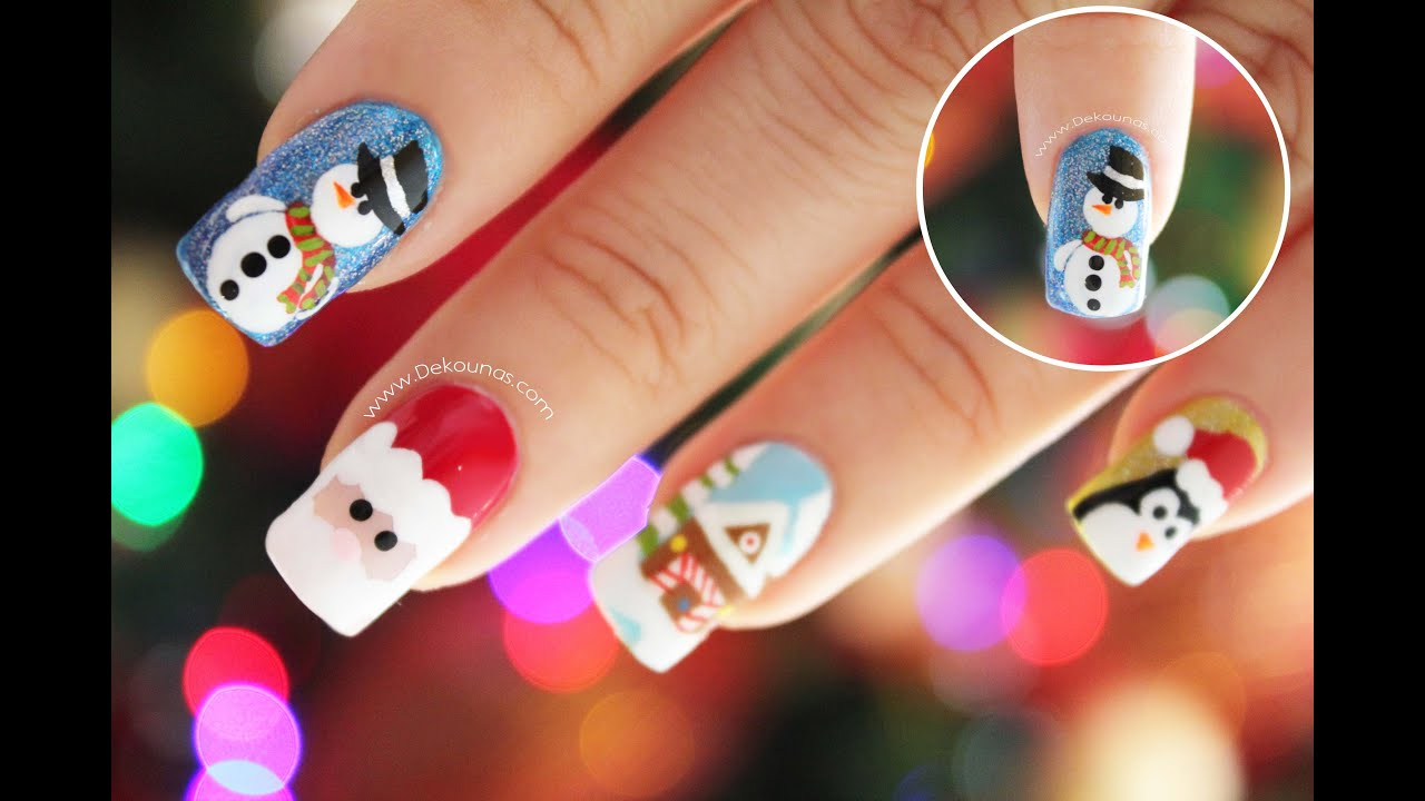 Decoraci n de u as navidad mu eco de nieve snowman nail for Decoracion navidena 2016 unas