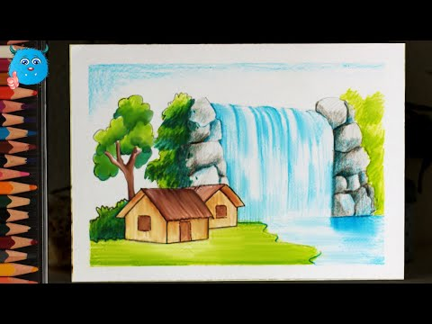 How To Draw Nature Scenery Of Waterfall Drawing For Kids Very Easy
