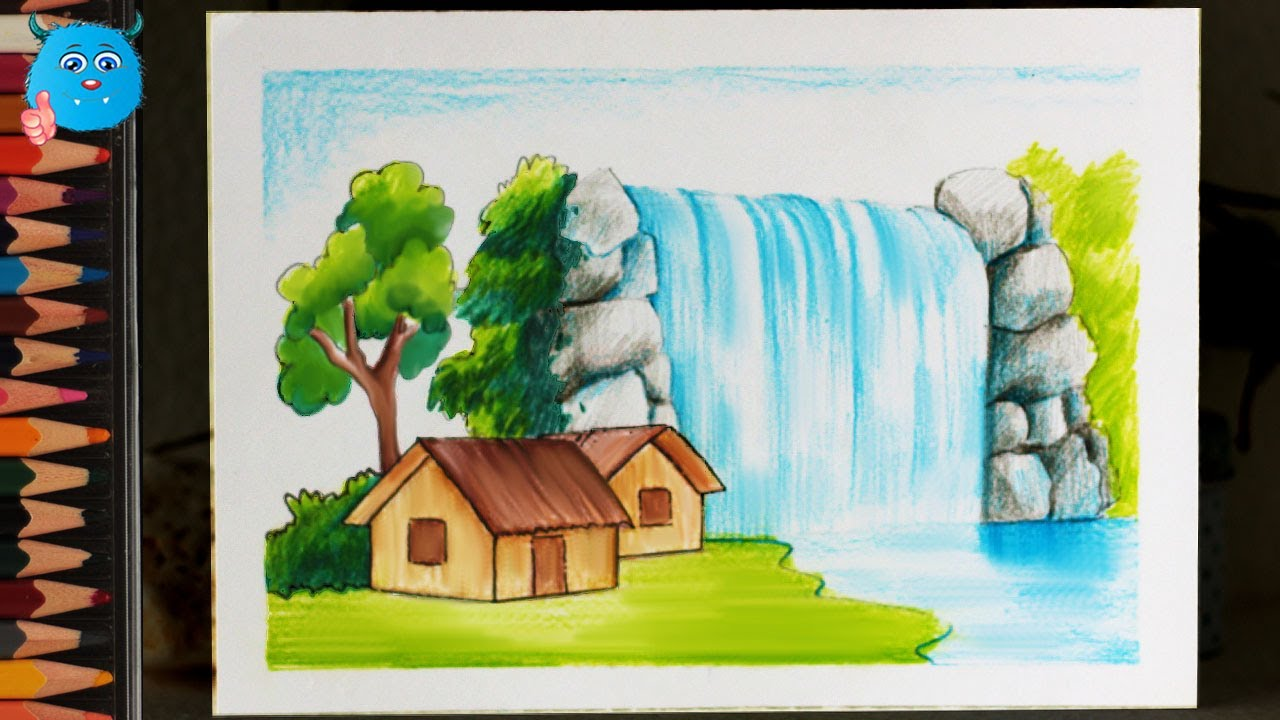 How To Draw Nature Scenery Of Waterfall Drawing For Beginners Very Easy With Color Pencils Youtube