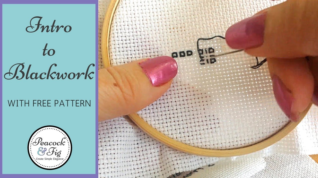 Embroidery stitches: blackwork - Peacock & Fig