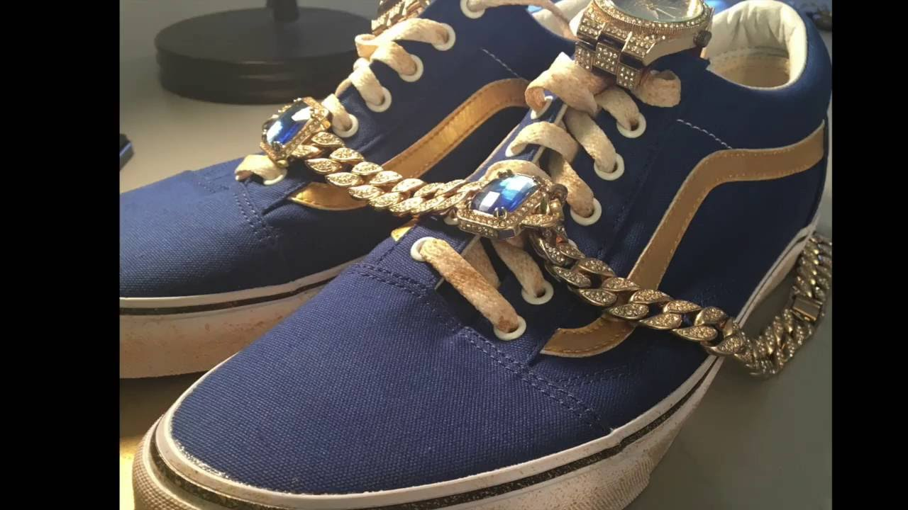 Custom Gold Blue Vans Jewelry Edition YouTube