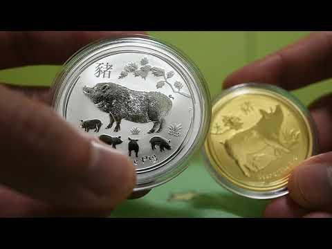Australian Gold Silver perth mint australia lunar year of PIG 2019 bullion coin