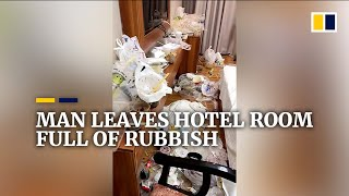 Man in China leaves hotel room full of of rubbish after month-long stay