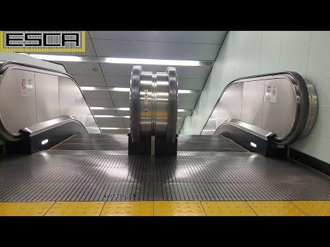 上野中央通り地下通路 エスカレーター C4出口 下り 東芝 Tokyo ueno Underground passage Escalator Toshiba