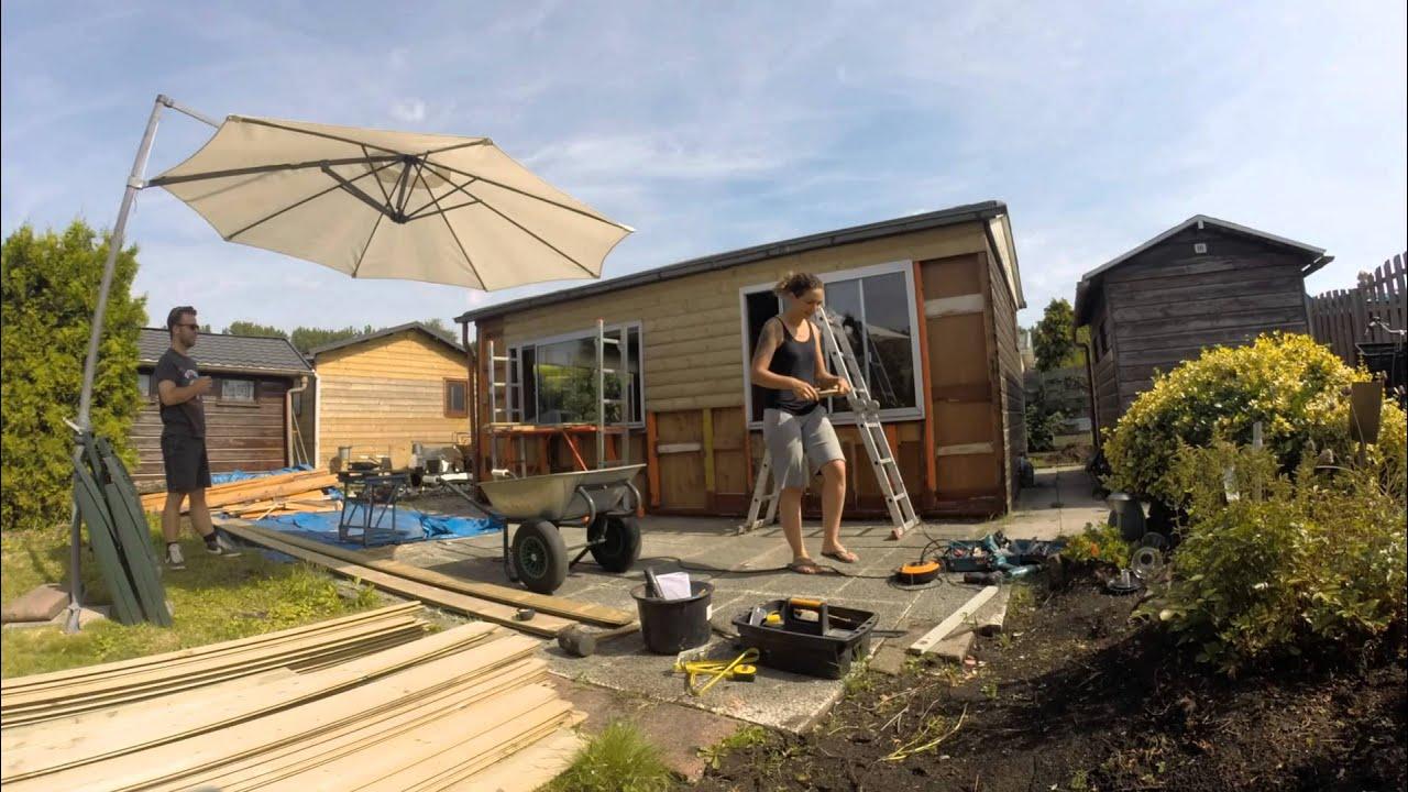 nieuwe planken tuinhuisje youtube