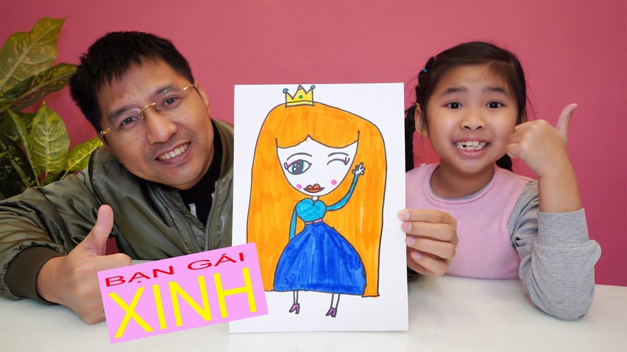 Bé Bún Hướng Dẫn Bố Vẽ Công Chúa Thật Đẹp – Draw princess the way children