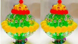 DIY NEW DESIGN WOOLEN GULDASTA/WASTE PLASTIC BOTTLE GULDASTA/NEW CRAFT/PLASTIC /FLOWER POT/GULDASTA