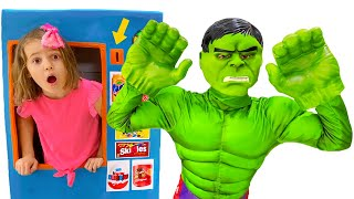 Max and Katy their vending machine with superheroes