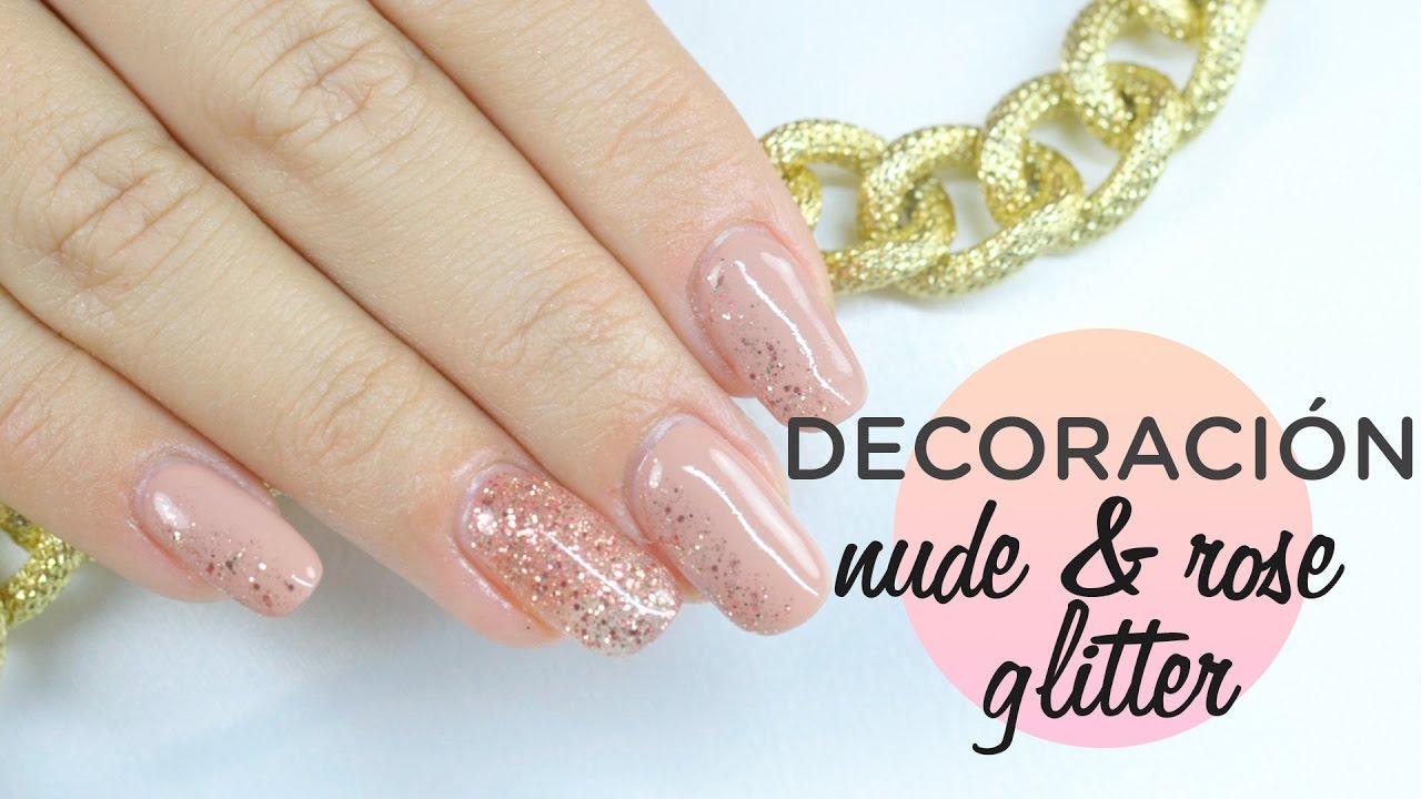 Diseño fácil uñas Nude and Rose glitter | Esmalte permanente ...